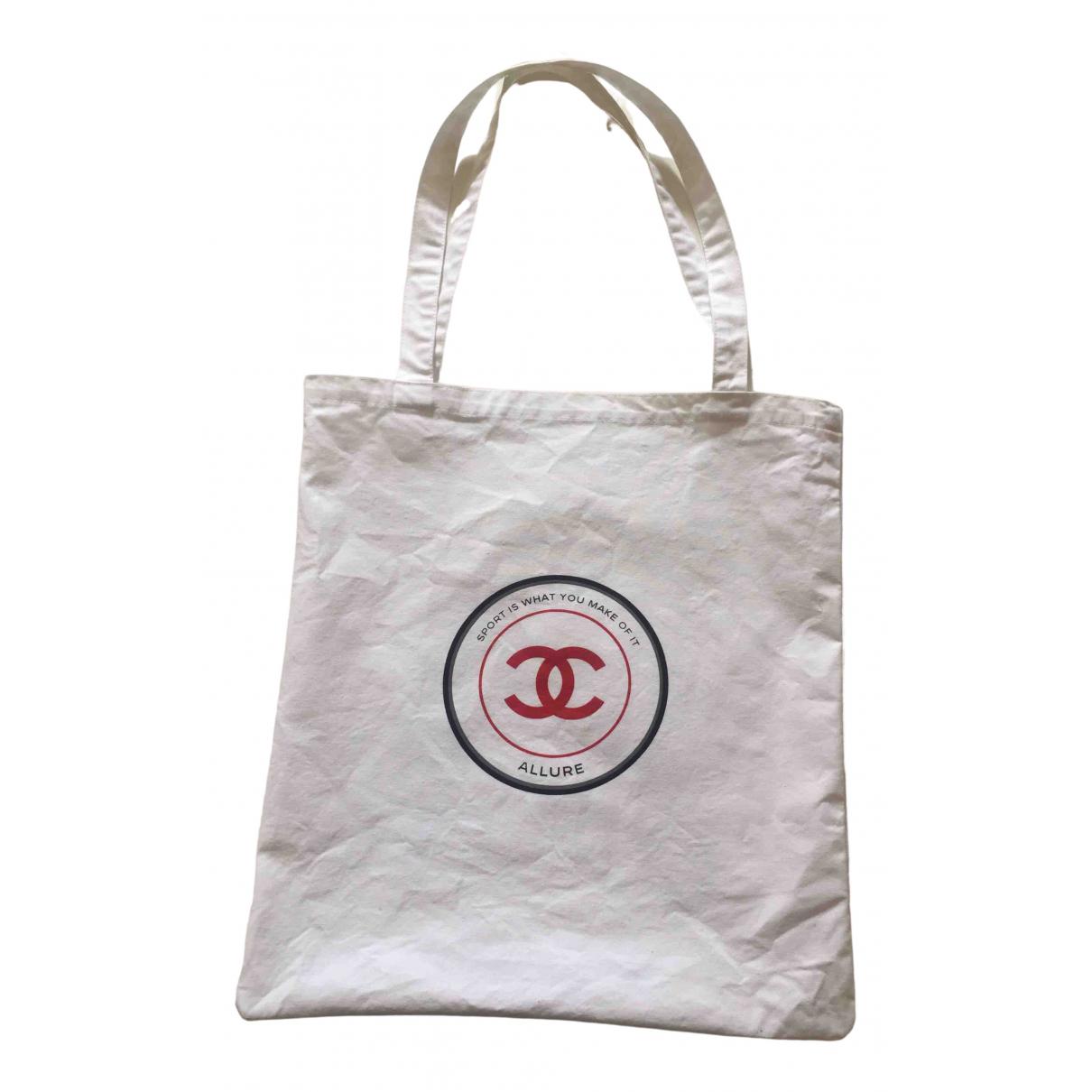 Chanel - Sac a main   pour femme en coton - blanc
