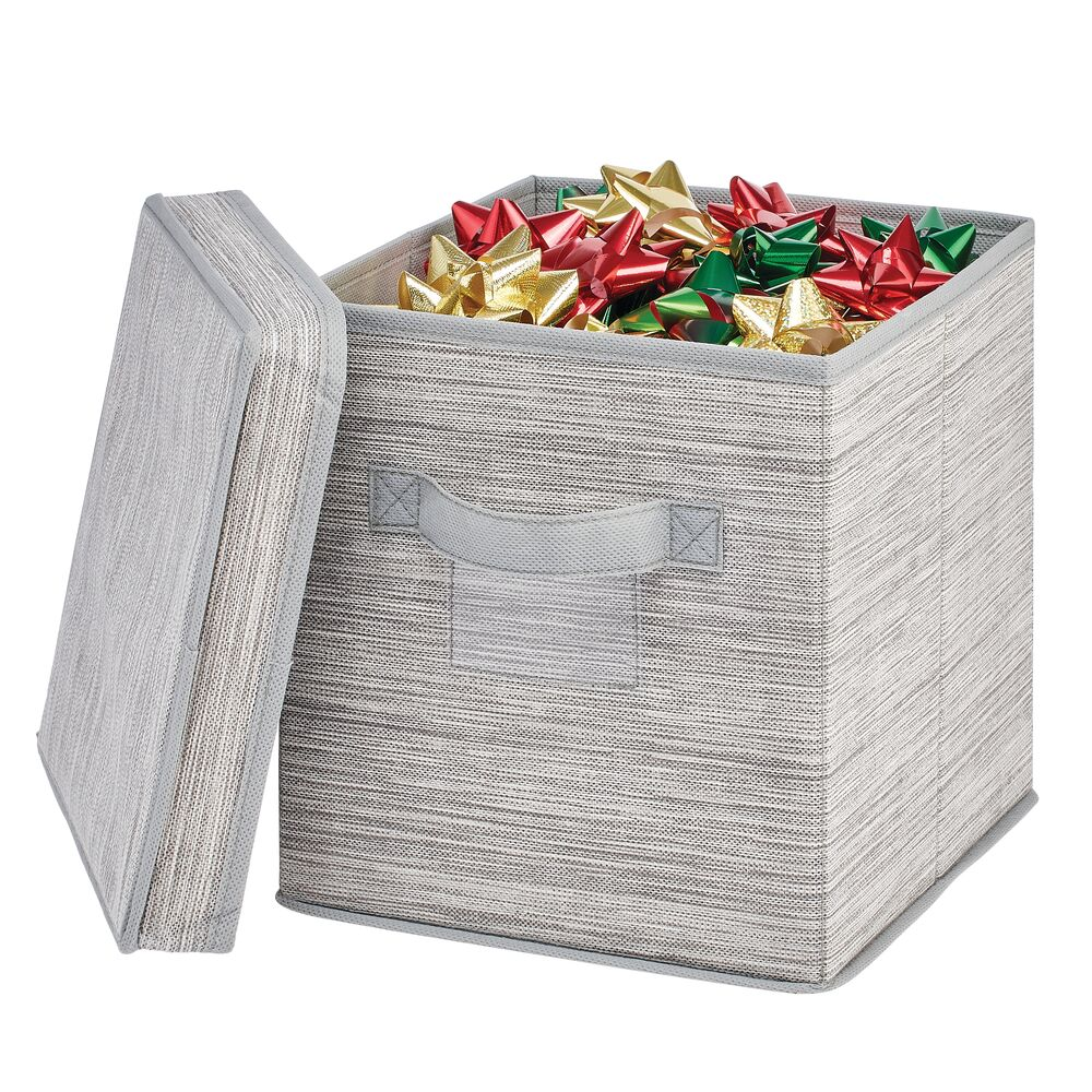 Striped Fabric Storage Cube With Lid - Taupe 9.8