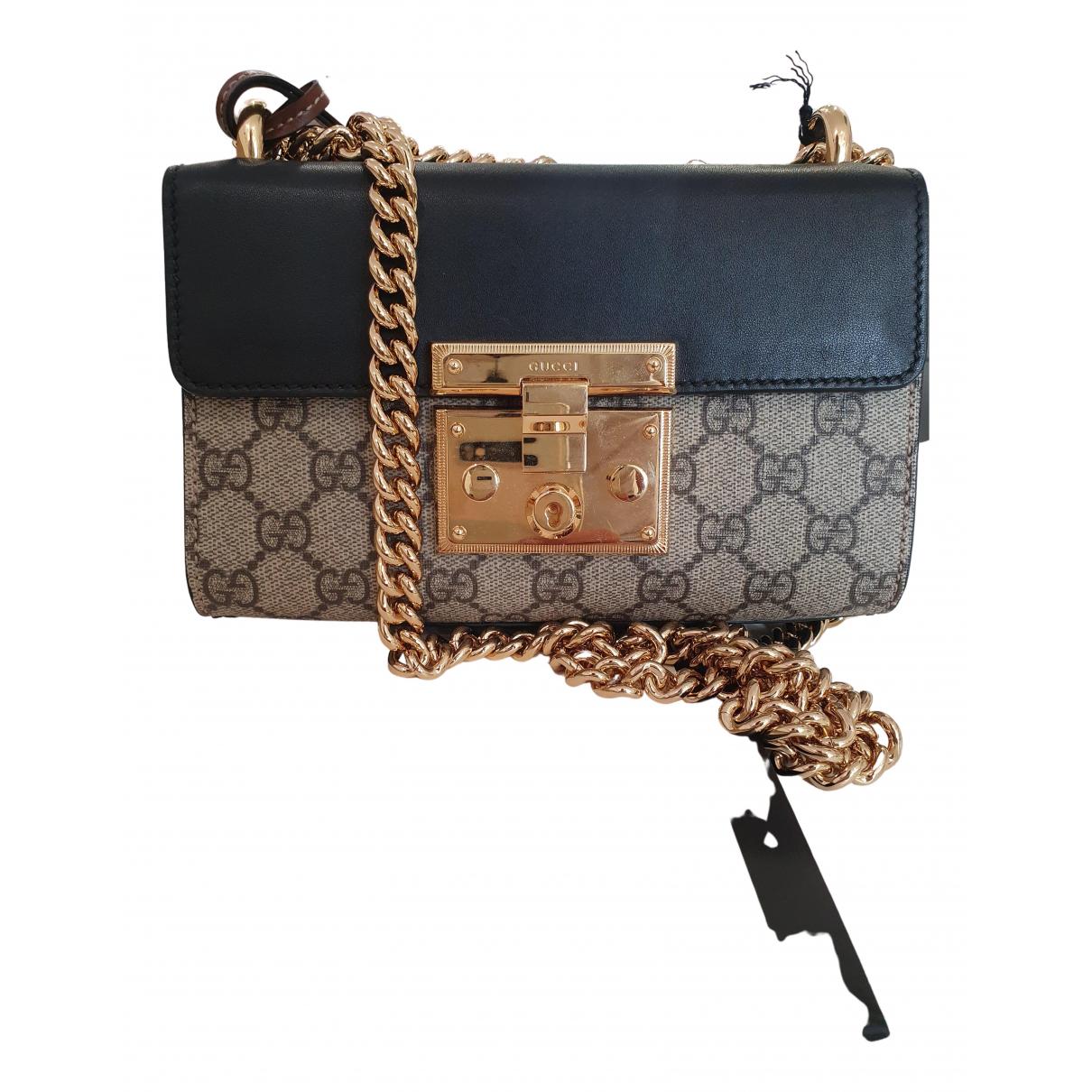 Gucci Padlock Handtasche in  Schwarz Leinen