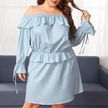 Plus Ruffle Trim Cold Shoulder Denim Top & Skirt