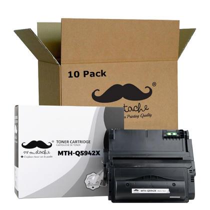 Compatible HP 42X Q5942X cartouche de toner noire haute capacite - Moustache - 10/Paquet