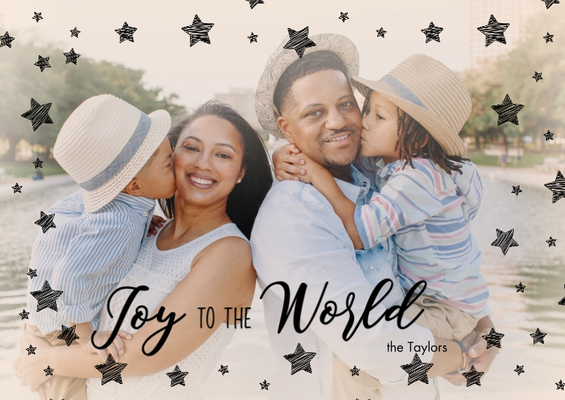 Christmas Photo Cards Set of 20, Premium 5x7 Foil Card, Card & Stationery -Joy to the World Stars
