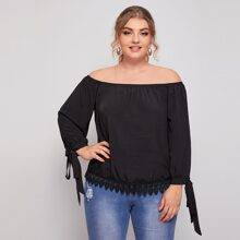 Plus Contrast Lace Knotted Cuff Bardot Blouse