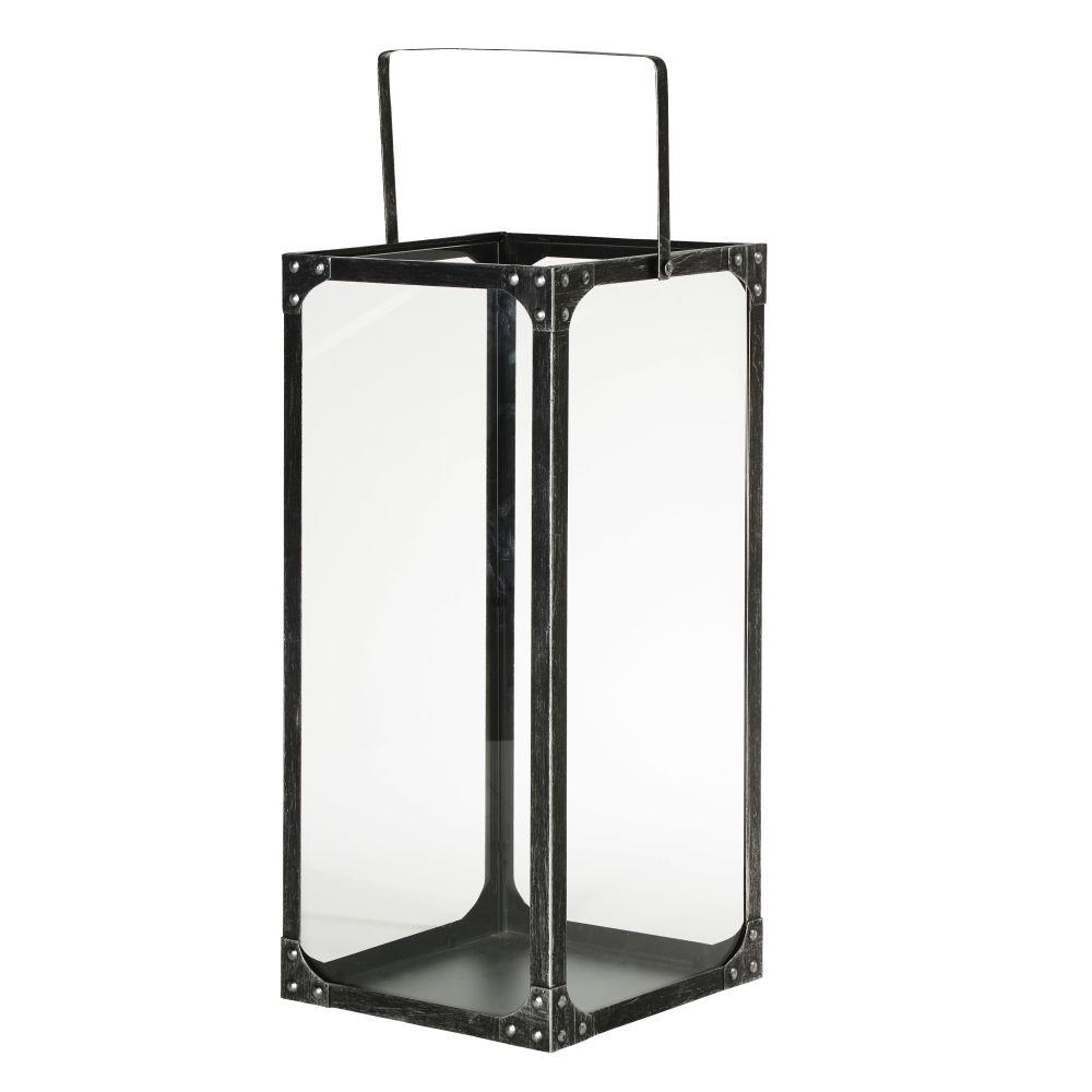 Laterne aus schwarzem gealtertem Metall und Glas