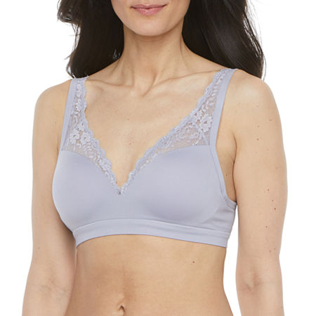 Ambrielle Seamless Padded Wireless Push Up Full Coverage Bra-J8512, X-large , Gray