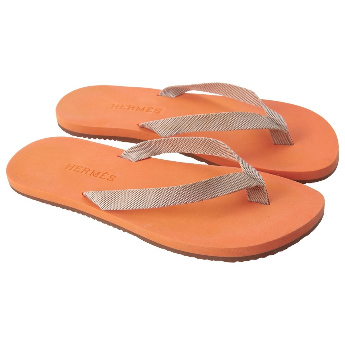 Hermes - Sandales   pour femme en caoutchouc - orange