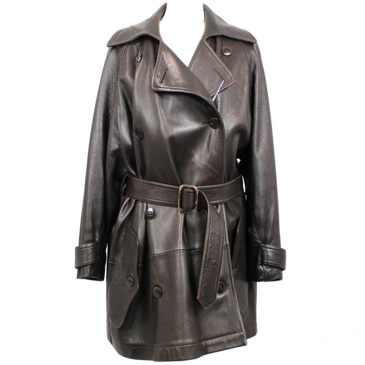 Joseph - Manteau   pour femme en cuir - marron