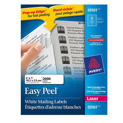 Avery@ etiquettes d'adresse Easy Peel, blanches, laser - 4