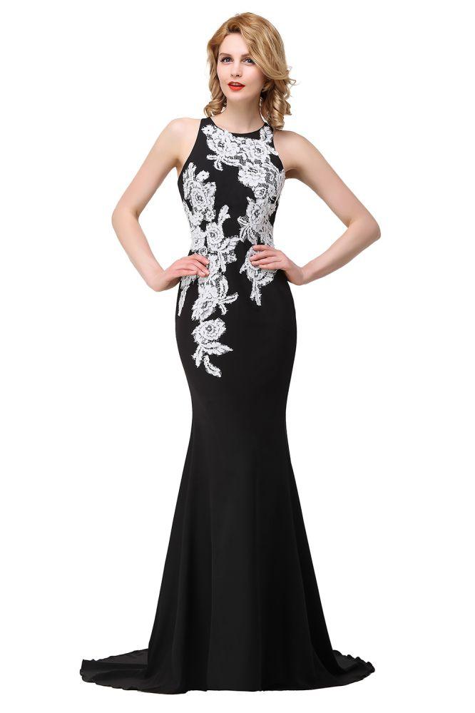 ERIN | Sirena sin mangas hasta el suelo Prom Vestidos con apliques