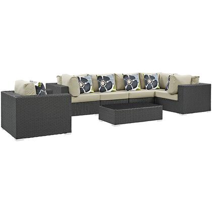 Sojourn Collection EEI-2374-CHC-BEI-SET 7-Piece Outdoor Patio Sunbrella Sectional Set with Armchair  Coffee Table  3 Corner Sections and 3 Armless