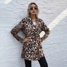 Mantel mit Leopard Muster, Reverskragen und Guertel