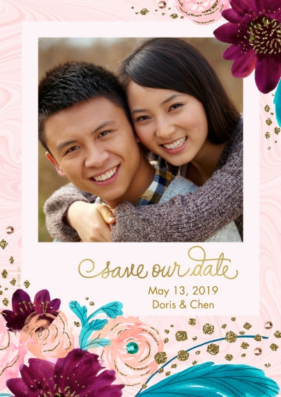 Save the Date 5x7 Cards, Standard Cardstock 85lb, Card & Stationery -Elegant Purple & Pink Floral Save the Date by Hallmark
