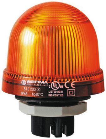 Werma 817 Yellow Xenon Beacon, 24 V dc, Blinking, Panel Mount