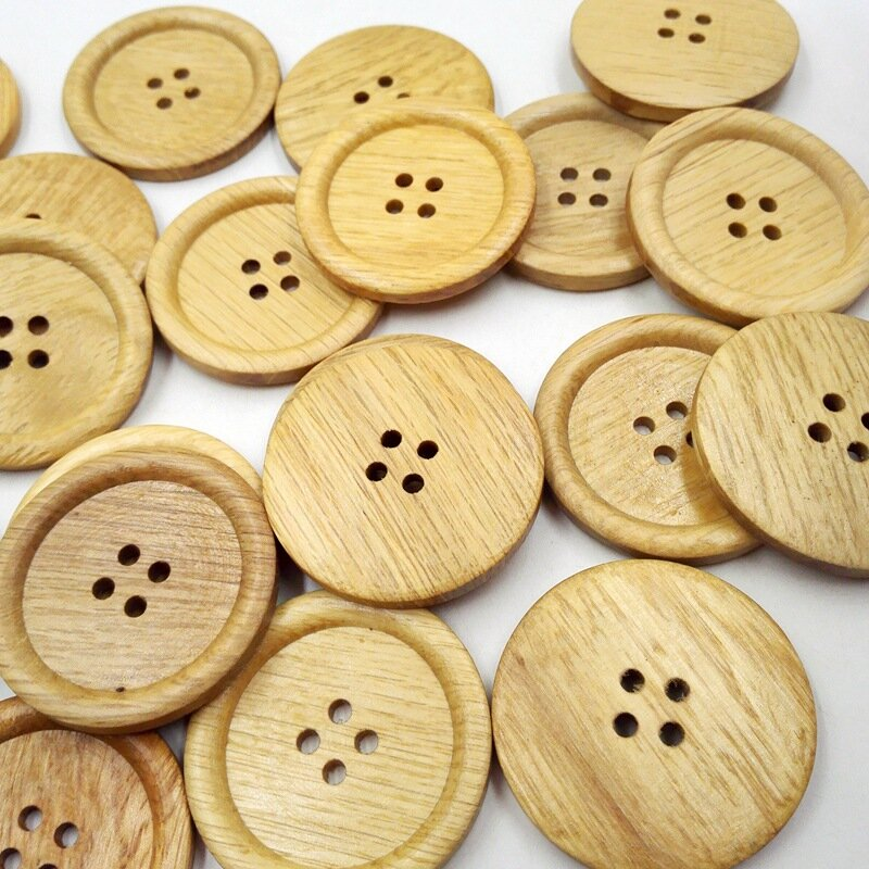 30Pcs 38mm Diameter Wooden Sewing Buttons Natural Wood Round 4 Holes Round Cloth Buttons DIY