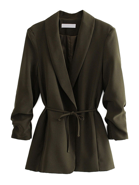 Milanoo Chaqueta casual de mujer verde oscuro cuello vuelto manga larga con cordones chaquetas