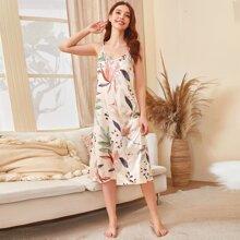 Tropical Print Satin Cami Night Dress