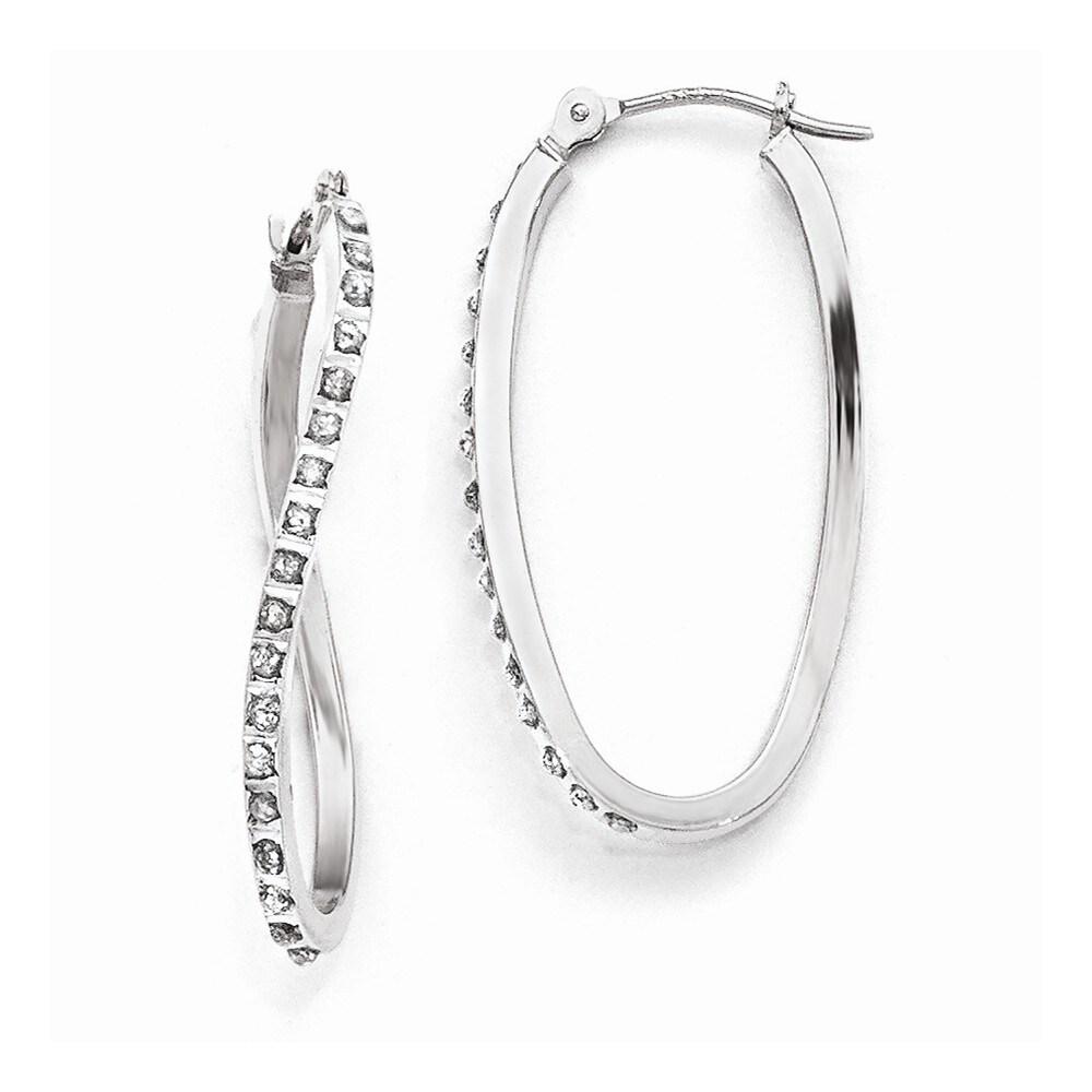 Curata 14k White Gold Diamond Accent Twist Hinged Hoop Earrings (1x30mm)