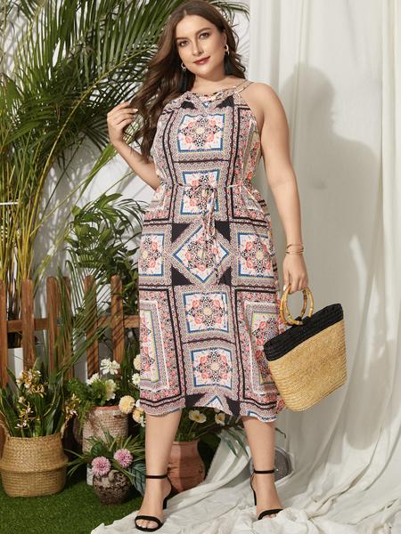 YOINS Plus Size Halter Tribal Tie-up Design Sleeveless Dress