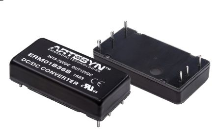 Artesyn ERM 20W Isolated DC-DC Converter Through Hole, Voltage in 18 → 75 V dc, Voltage out 12V dc Railway