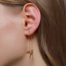 Rhinestone Bird Drop Earrings