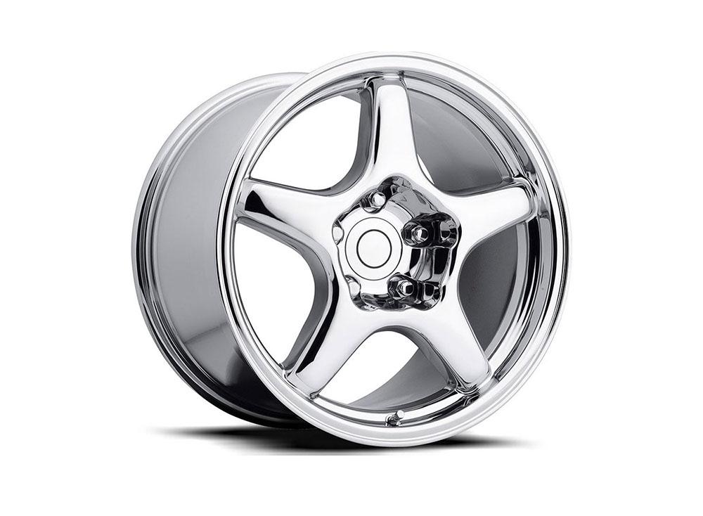 Factory Reproduction Series 21 Wheels 17x9.5 5x4.75 +54 HB 70.3 1984-1996 C4 ZR1 Corvette Chrome w/Cap