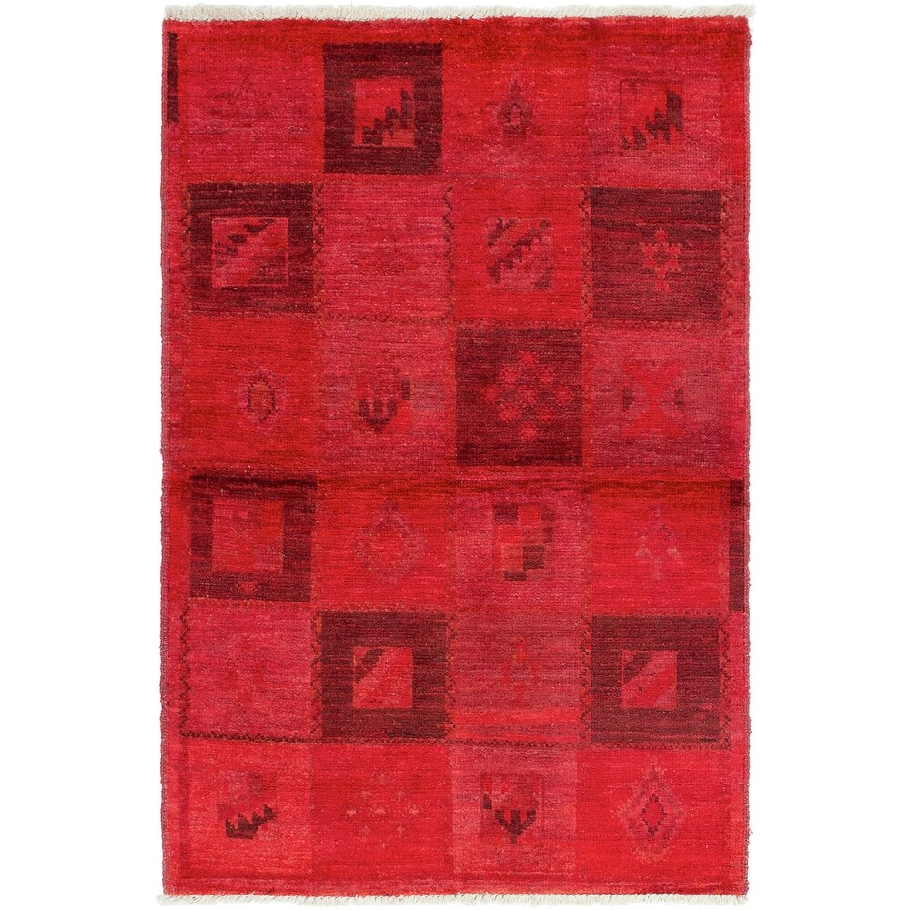 ECARPETGALLERY Hand-knotted Vibrance Red Wool Rug - 3'10 x 6'2 (Red - 3'10 x 6'2)