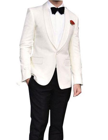 Men's Shawl Lapel 1 Button Single Breasted White Tuxedo