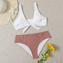 Plus Two Tone Knot Front Bikini Swimsuit