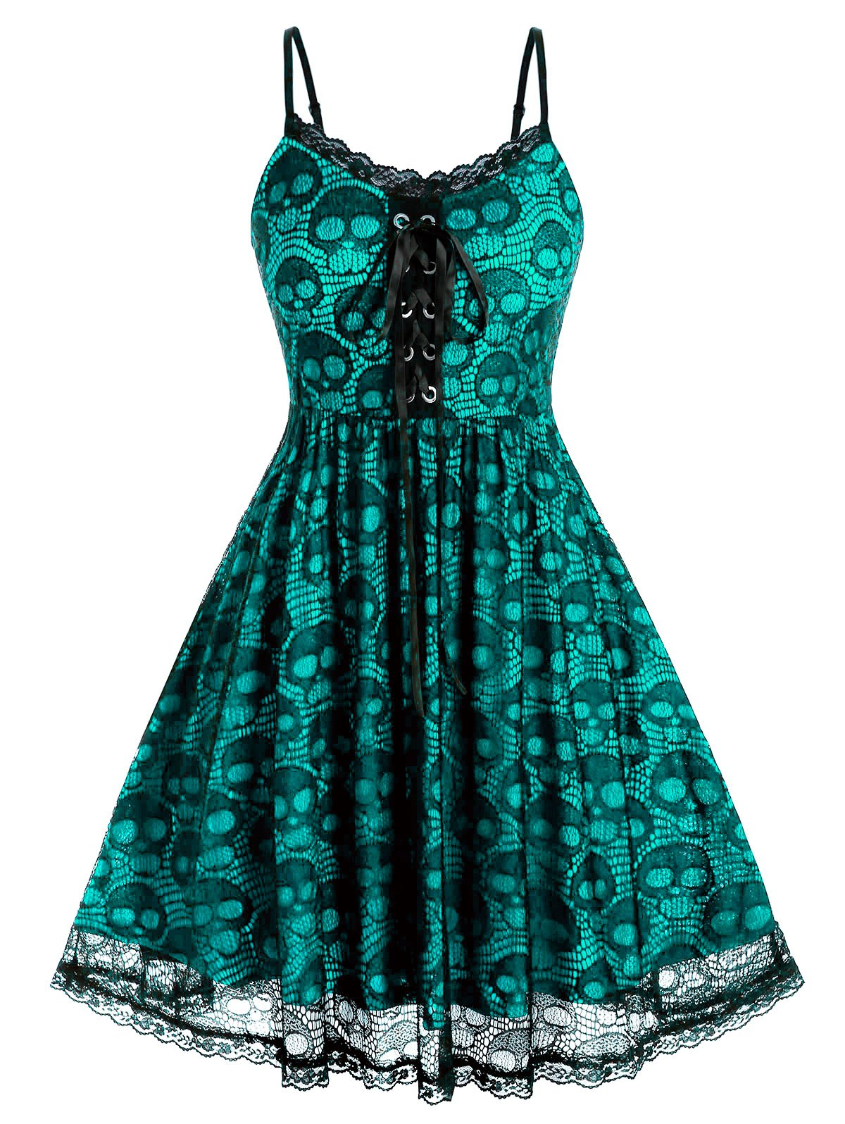 Plus Size Lace Skull Lace-up Backless Cami Dress