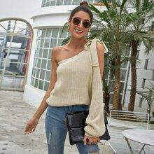 Pullover mit einer Schulter und Knoten