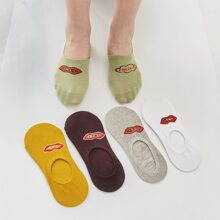 5pairs Mouth Pattern Socks