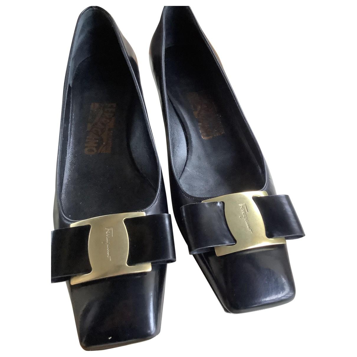 Salvatore Ferragamo N Black Leather Heels for Women 37.5 IT
