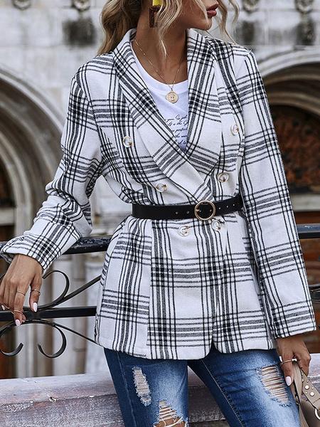 Milanoo Chaqueta blanca para mujer, cuello vuelto, manga larga, chaquetas cortas en capas a cuadros