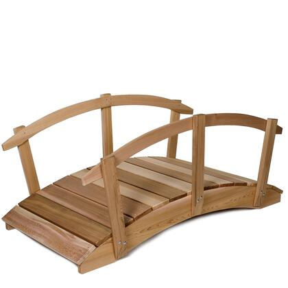 FB72-R 6 Garden Bridge with Handrails  Solid Beam Clear Western Red Cedar Construction  Sanded Finish and Sanded & Routed