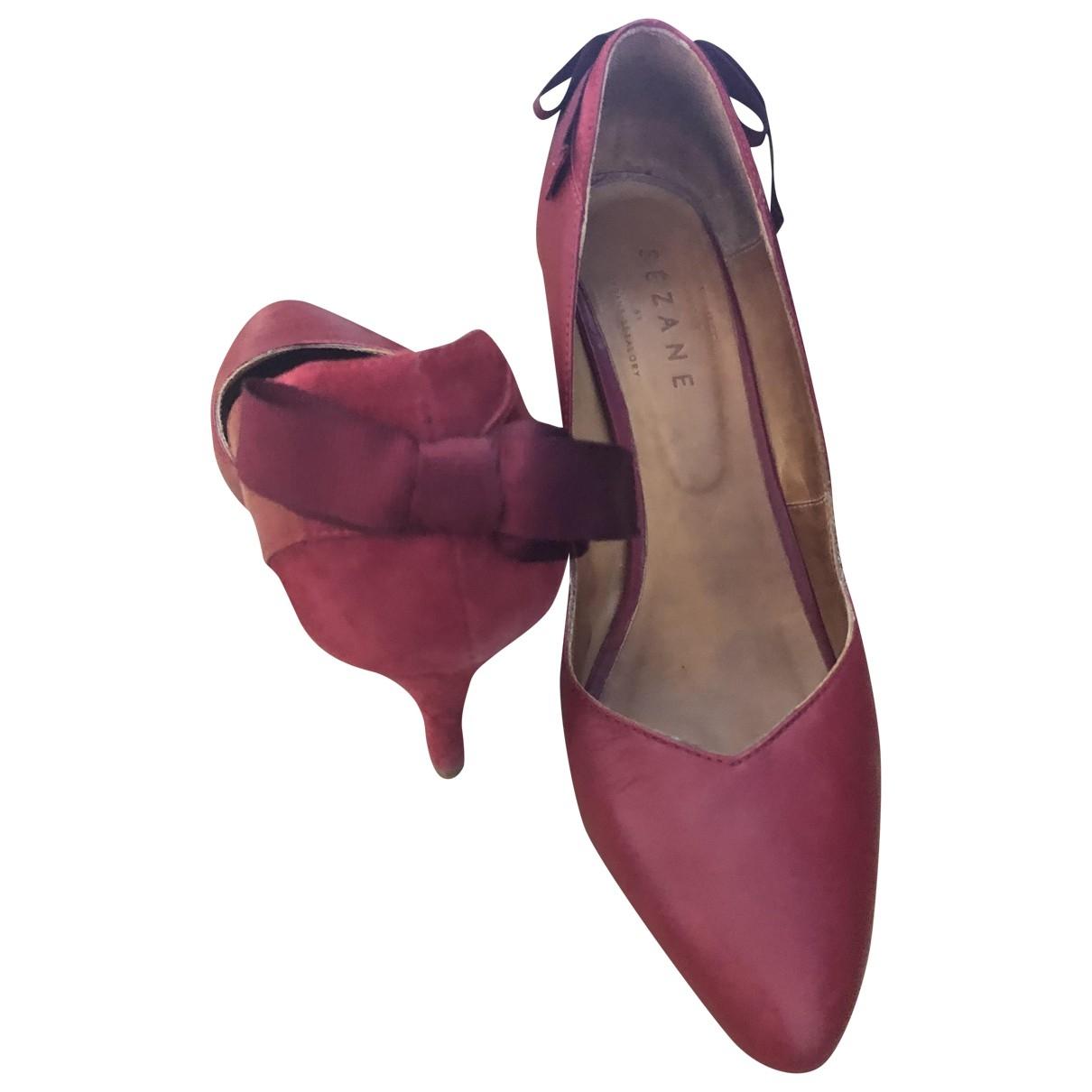 Sezane - Escarpins   pour femme en cuir - rouge