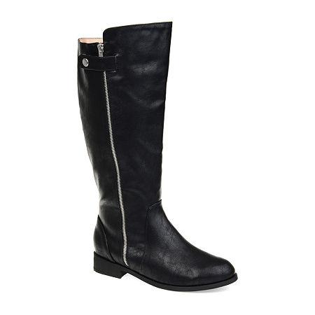 Journee Collection Womens Kasim Wide Calf Stacked Heel Zip Riding Boots, 9 Medium, Black