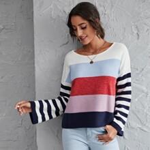Pullover mit sehr tief angesetzter Schulterpartie, Bootshals und Farbblock