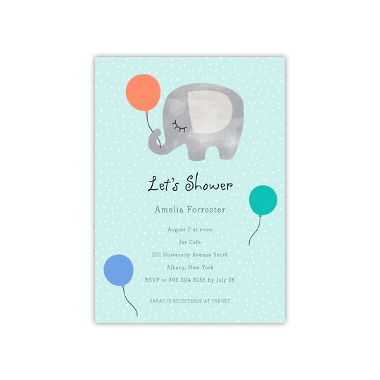 20 Pack of Gartner Studios® Personalized Elephant Flat Baby Invite in Mint | 5