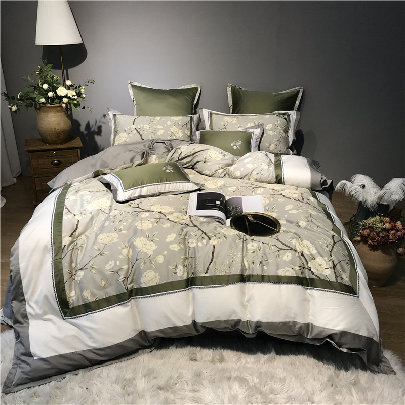 High precision Embroidery European Duvet Cover Set Four-Piece Set Cotton Luxury Bedding Sets 2 Pillowcases Flat Sheet Duvet Cover No comforter