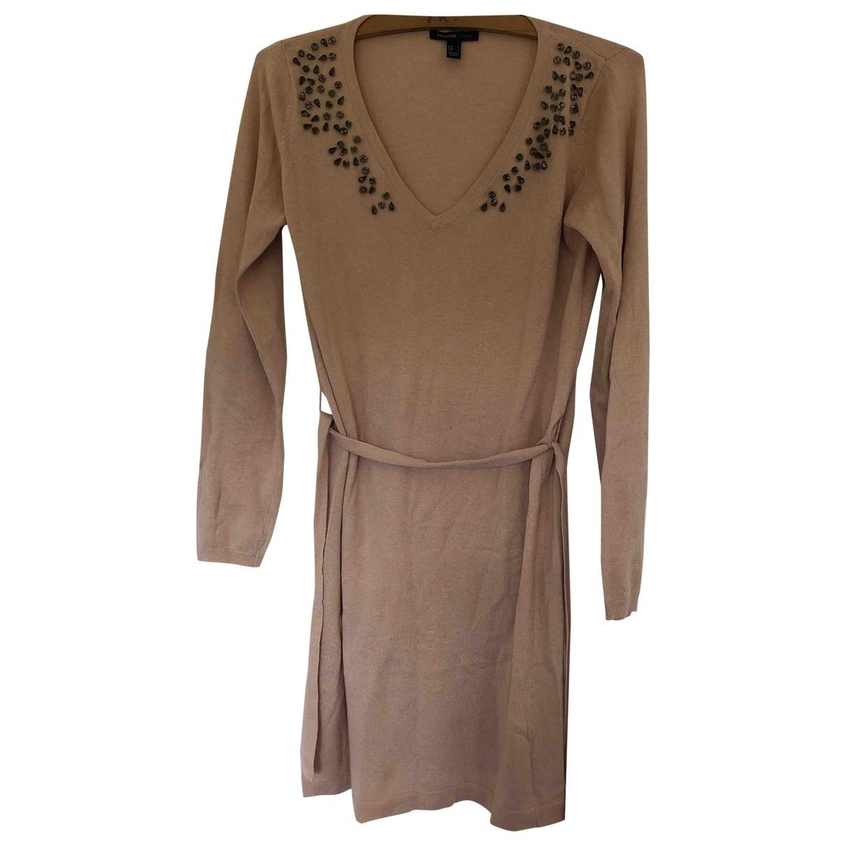 Mango - Robe   pour femme en laine - rose