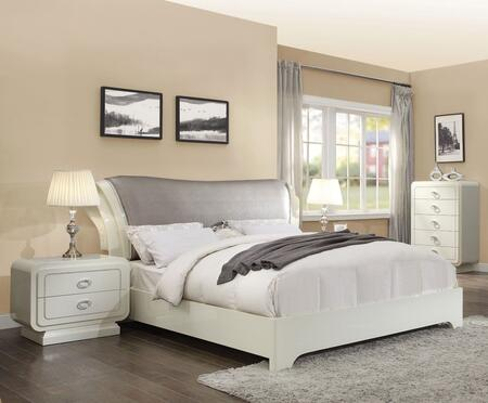 Bellagio Collection 20387EK4SET 4 PC Bedroom Set with King Size Sleigh Bed  Chest and 2 Nightstands in Ivory