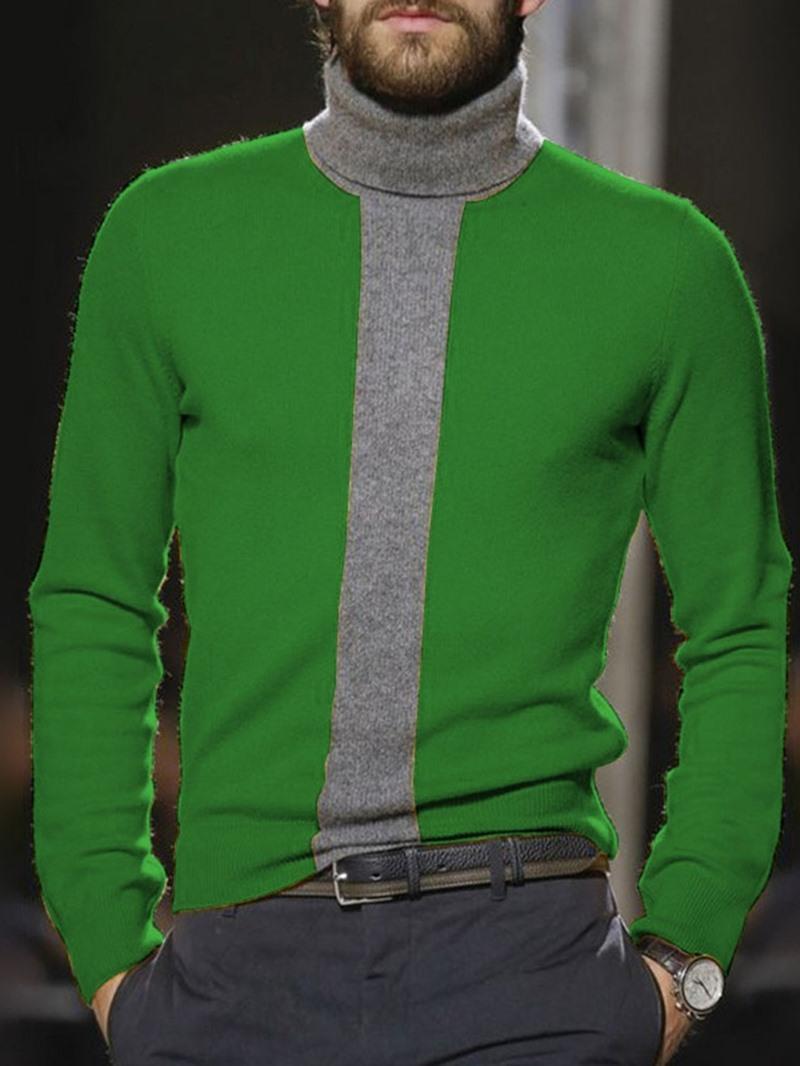 Ericdress Patchwork Standard Turtleneck England Slim Sweater