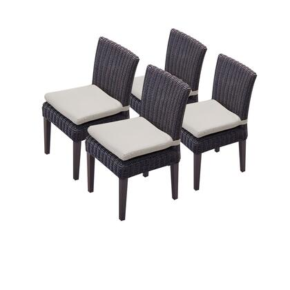 TKC094b-ADC-2x-C-BEIGE 4 Venice Armless Dining Chairs with 2 Covers: Wheat and