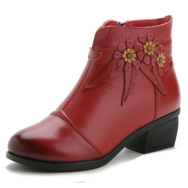Women Winter Folkways Plush Lined Cow Leather Flowers Zip Square Heel Boots