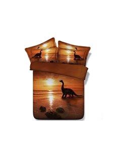 3D Dinosaur at Sunset Printed 5-Piece Comforter Sets