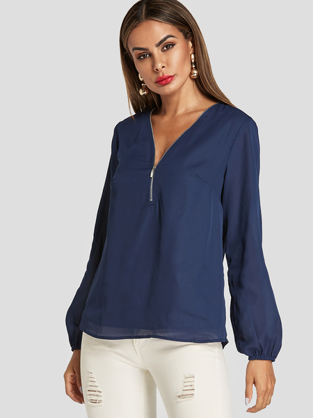 Yoins Navy V-neck Long Sleeves Blouse With Lining