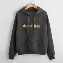 Slogan Graphic Patch Pocket Drawstring Hoodie