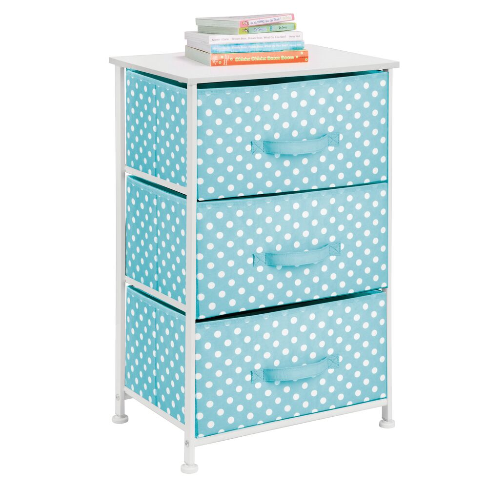 3 Drawer Tall Fabric Dresser Cabinet Storage Organizer for Baby + Kids in Turquoise Polka Dot, 12