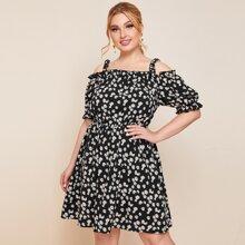Plus Daisy Floral Print Cold Shoulder Dress