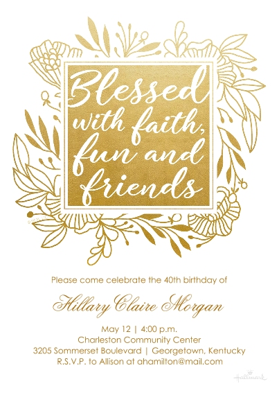 Birthday Party Invites 5x7 Cards, Premium Cardstock 120lb with Rounded Corners, Card & Stationery -Blessed With Faith, Fun & Friends